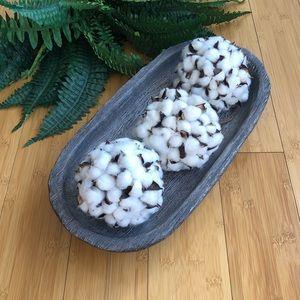 HOME GOODS | Tray & Cotton Ball Ornament Decor